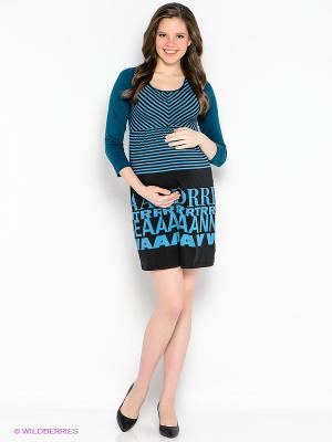 Платье EUROMAMA. Цвет: черный, морская волна