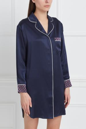 Шелковая ночная сорочка Poppy Olivia von Halle. Цвет: синий