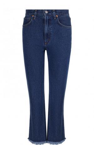 Укороченные расклешенные джинсы с потертостями Citizens Of Humanity. Цвет: синий