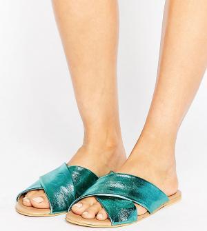 ASOS Кожаные шлепанцы для широкой стопы FLORIST. Цвет: зеленый