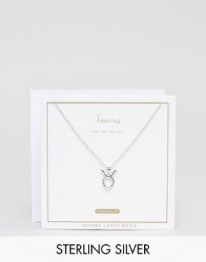Johnny Loves Rosie Серебряное ожерелье со знаком зодиака Телец. Цвет: серебряный
