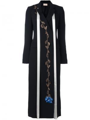 Пальто с вышивкой роз Christopher Kane. Цвет: чёрный