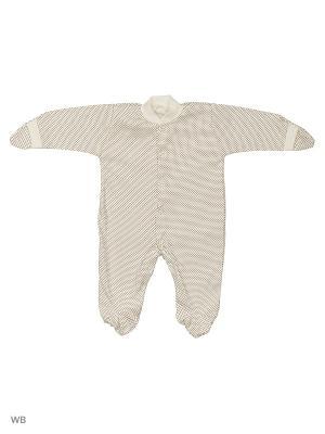 Комбинезон Babycollection. Цвет: молочный, коричневый