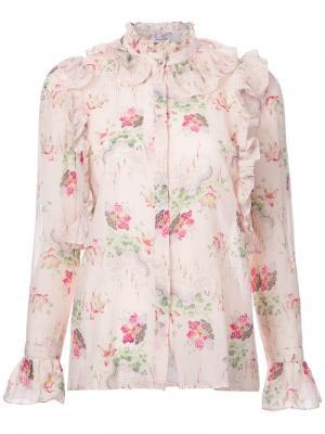 Блузка с оборками Vilshenko. Цвет: телесный