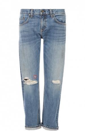 Укороченные джинсы прямого кроя с потертостями Rag&Bone. Цвет: синий