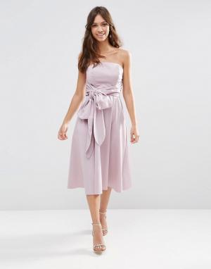 ASOS Структурированное платье миди с бантиком WEDDING. Цвет: фиолетовый