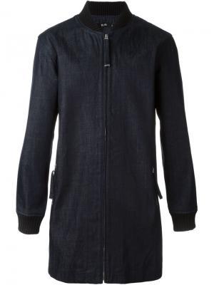 Джинсовое пальто с воротником в рубчик Blood Brother. Цвет: синий