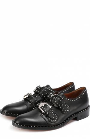 Кожаные ботинки с ремешками и заклепками Givenchy. Цвет: черный