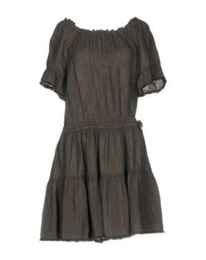 Короткое платье 120% LINO. Цвет: темно-коричневый