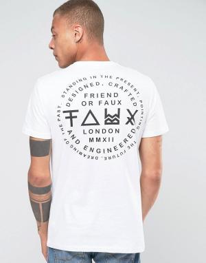 Friend or Faux Футболка с принтом на спине Nostalgia. Цвет: белый