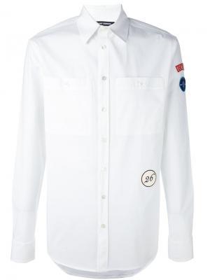 Рубашка с заплаткой на рукаве Raf Simons. Цвет: белый