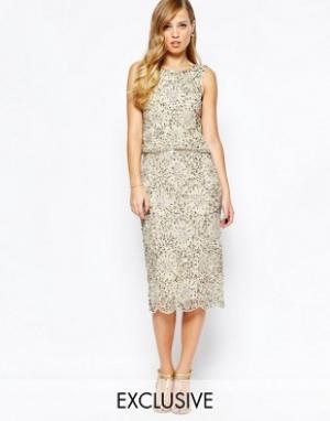 Frock and Frill Блестящее платье миди 2-в-1 с отделкой. Цвет: золотой