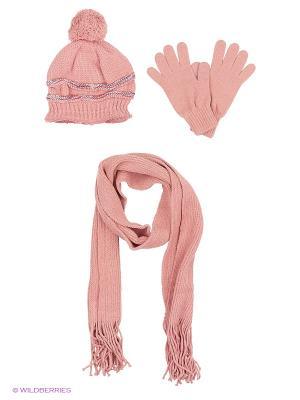 Шапка;  шарф; перчатки Krife. Цвет: розовый