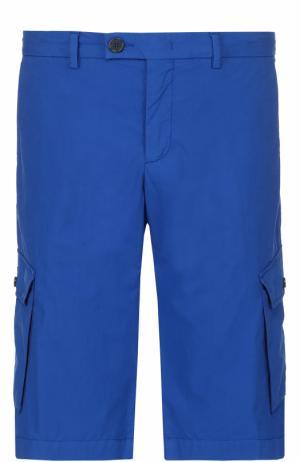 Хлопковые шорты с накладными карманами Z Zegna. Цвет: синий