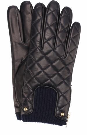 Кожаные перчатки с молниями и металлической отделкой Sermoneta Gloves. Цвет: темно-синий