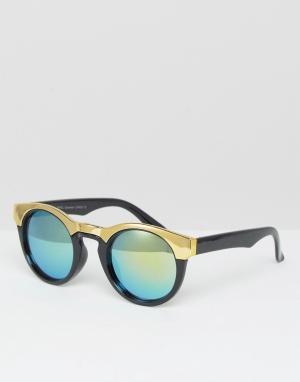 7X Солнцезащитные очки в оправе с металлической отделкой. Цвет: черный