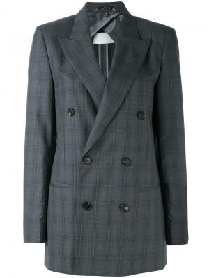 Двубортный пиджак в клетку Maison Margiela. Цвет: серый