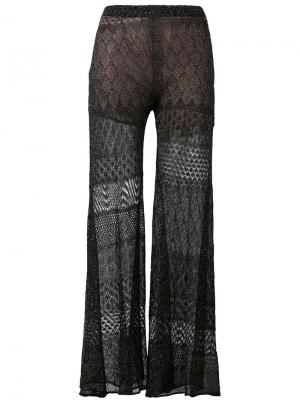 Lace detail flared pants Circus Hotel. Цвет: чёрный