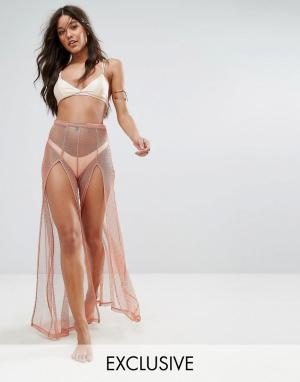 And CO Золотисто-розовые пляжные брюки из сетки. Цвет: золотой