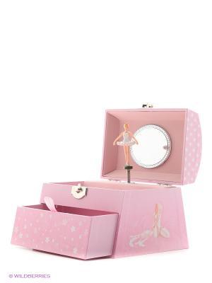 Музыкальная шкатулка с фигуркой в форме купола Jakos. Цвет: бледно-розовый, белый