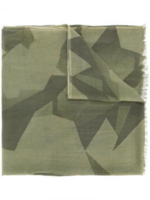 Шарф с геометрическим рисунком Closed. Цвет: зелёный