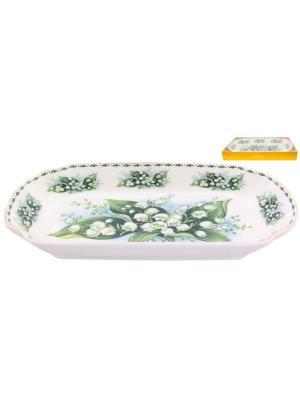 Блюдо для слоеных салатов Ландыши Elan Gallery. Цвет: белый, зеленый