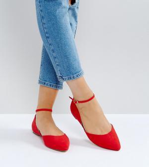 Faith Wide Fit Красные туфли на плоской подошве для широкой стопы с ремешком вокруг щ. Цвет: красный