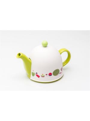 Заварочный керамический чайник PELANGI с пластиковым утепленным колпаком и ситом 800мл GIPFEL. Цвет: зеленый