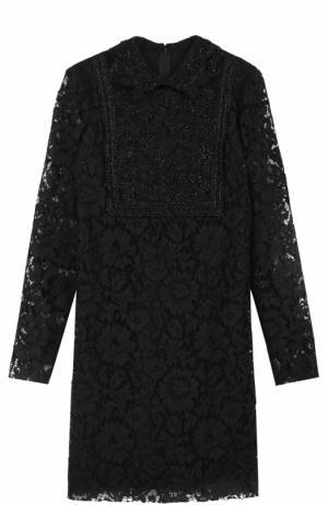 Кружевное мини-платье с длинным рукавом Valentino. Цвет: черный
