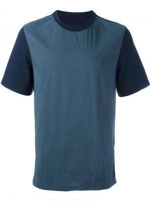 Двухцветная футболка System Homme. Цвет: синий