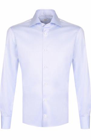 Хлопковая сорочка с воротником акула Barba. Цвет: голубой