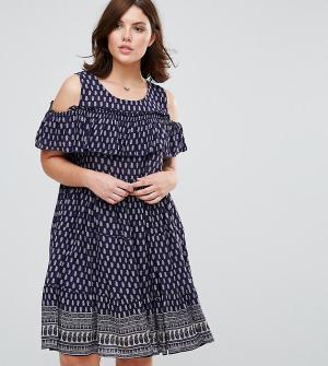 Diya Платье с оборками Plus. Цвет: синий