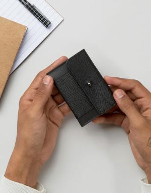 ASOS Визитница-конверт из сафьяновой кожи с тиснением. Цвет: черный