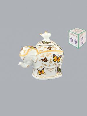 Чайница Слон Бабочки Elan Gallery. Цвет: желтый, белый, коричневый