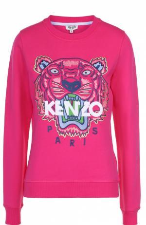 Хлопковый свитшот с контрастной надписью и логотипом бренда Kenzo. Цвет: фуксия