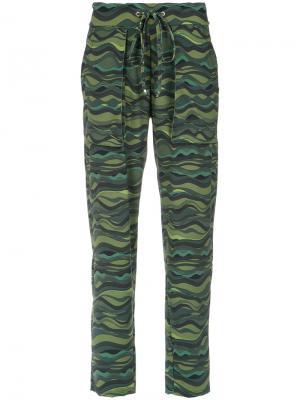 Wave print drawstring pants Amir Slama. Цвет: зелёный