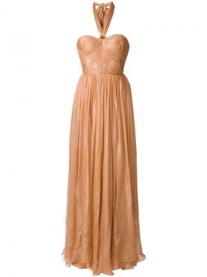 Приталенное расклешенное платье Maria Lucia Hohan. Цвет: розовый и фиолетовый