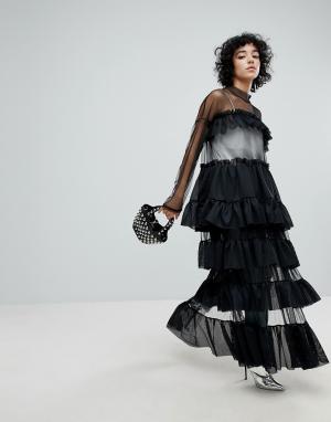 The Ragged Priest Ярусное сетчатое платье с боковым разрезом Black Lab. Цвет: черный