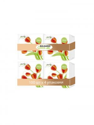 Набор из 4-х упаковок однослойных салфеток с принтом Тюльпаны, 4х100шт Bulgaree Green. Цвет: белый