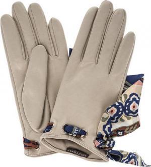 Кожаные перчатки с лентами ELEGANZZA. Цвет: молочный