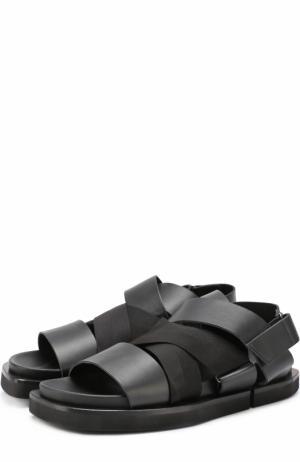 Кожаные сандалии с эластичными лентами Cinzia Araia. Цвет: черный