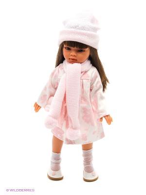 Кукла Эмили осенний образ, брюнетка, 33 см Antonio Juan. Цвет: бледно-розовый