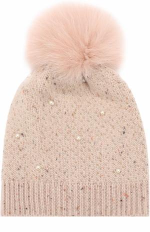 Шерстяная шапка фактурной вязки с меховым помпоном и декором Yves Salomon Enfant. Цвет: розовый