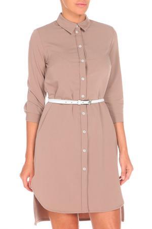 Платье-рубашка SHELTER. Цвет: коричневый