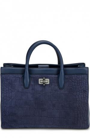 Кожаная сумка Viviana с тиснением Diane Von Furstenberg. Цвет: синий