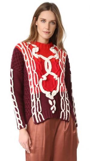 Свободный свитер с отделкой в виде морских узлов Spencer Vladimir. Цвет: бордовый
