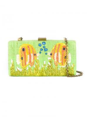 Клатч с вышивкой Serpui. Цвет: зелёный