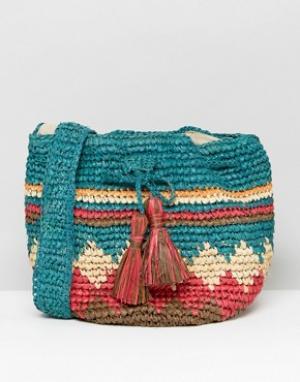 Hat Attack Соломенная сумка с разноцветным принтом. Цвет: мульти