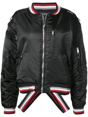 Куртка-бомбер с контрастными полосками Icosae. Цвет: чёрный
