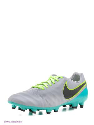 Бутсы TIEMPO GENIO II LEATHER FG Nike. Цвет: серый, салатовый, черный